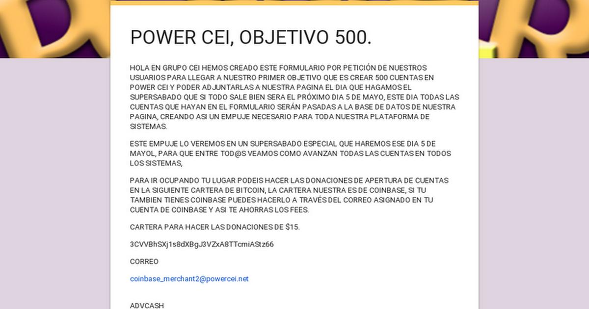 POWER CEI, OBJETIVO 500.