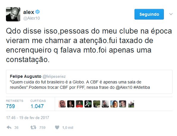 Twitter de Alex, ídolo do Coritiba