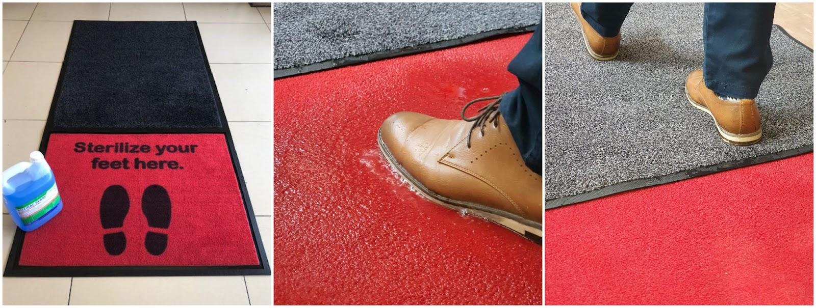Sanitising floor entrance mat for covid-19