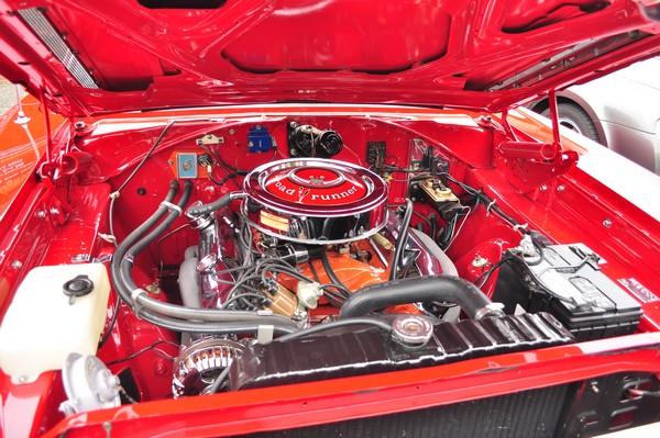 a shiny car engine