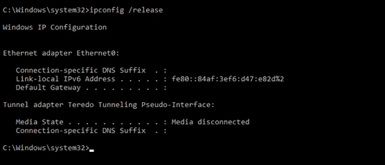 ipconfig release command execution