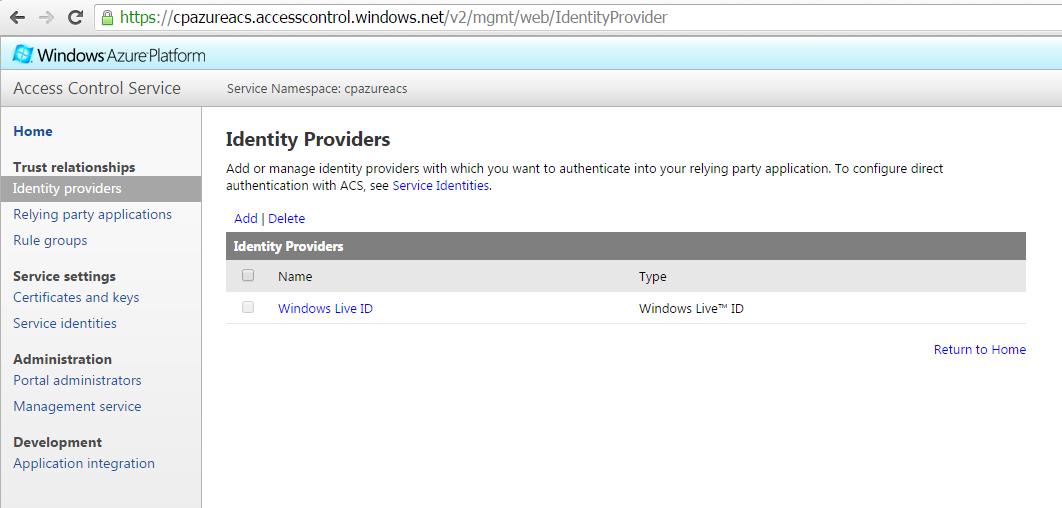 Azure ACS Identity Providers