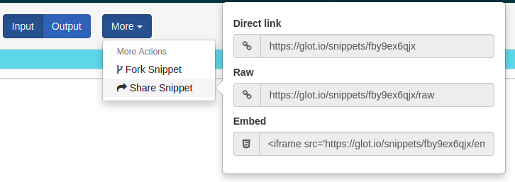 share snippet code
