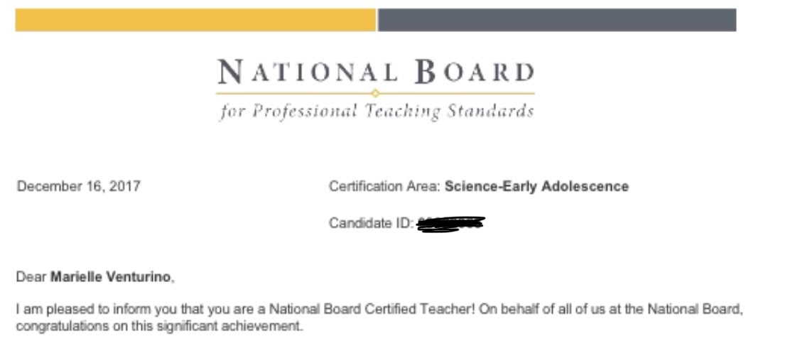 My National Board congratulations letter