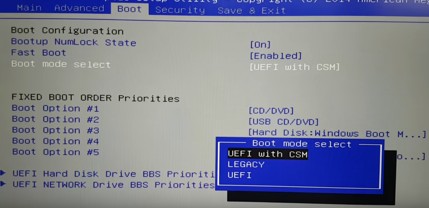 uefi with csm settings