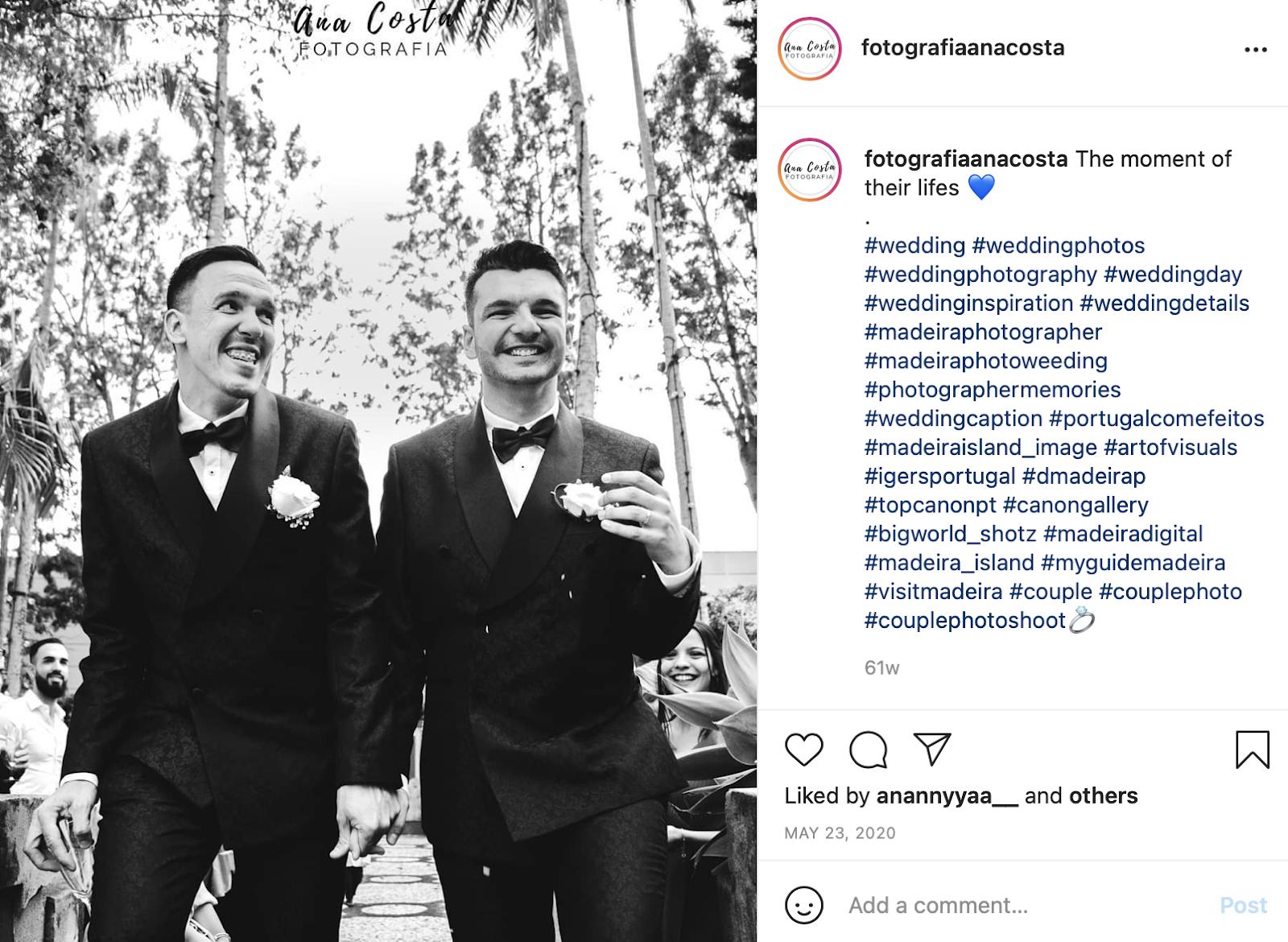 wedding day photo and wedding instagram caption