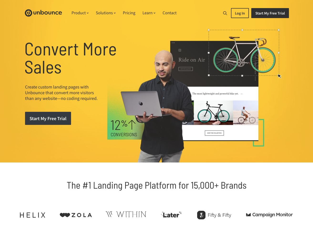 Unbounce's homepage