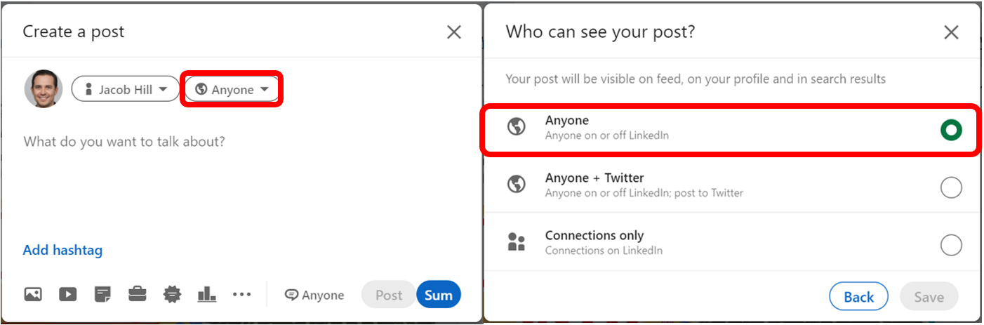 How to Post on LinkedIn: Make sure anyone can see your post