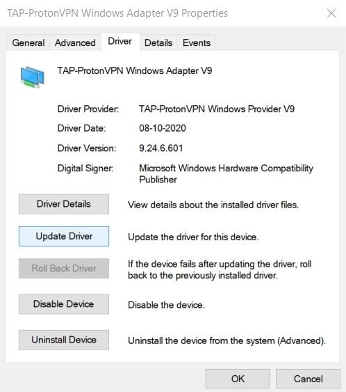 A Network Adapter properties window