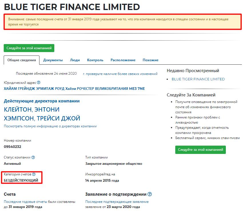 Blue Tiger Finance: обзор деятельности, отзывы