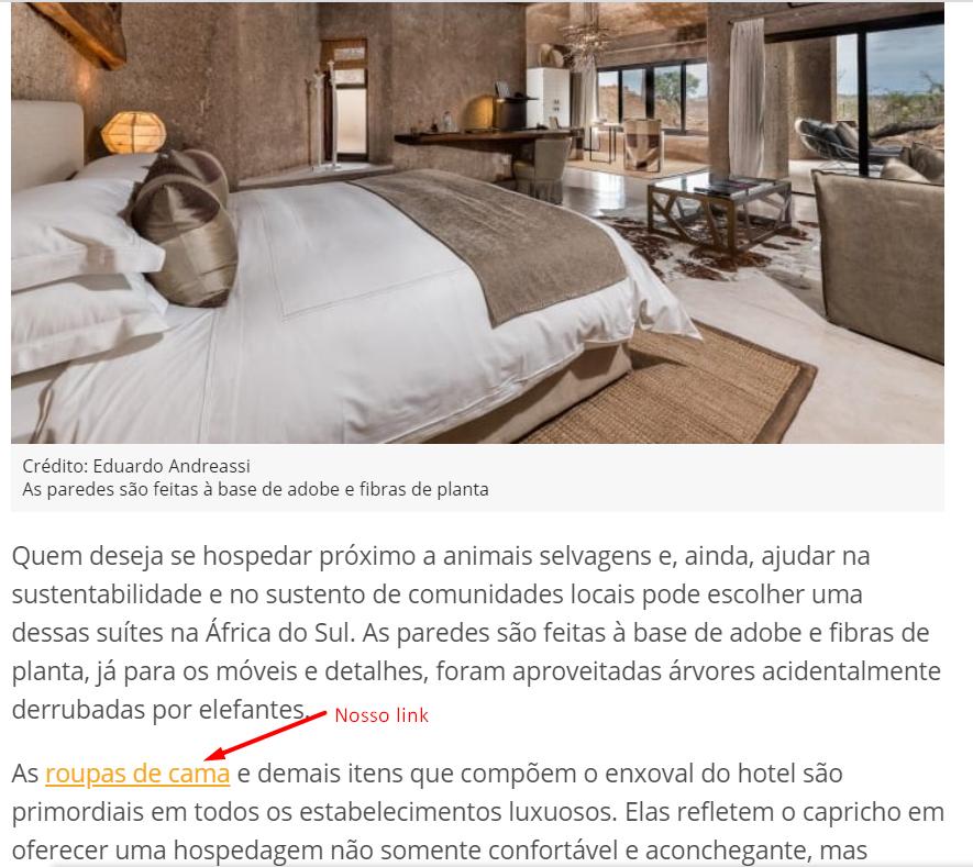 """imagem da matéria mostrando o link conquistado para a palavra """"roupas de cama"""""""