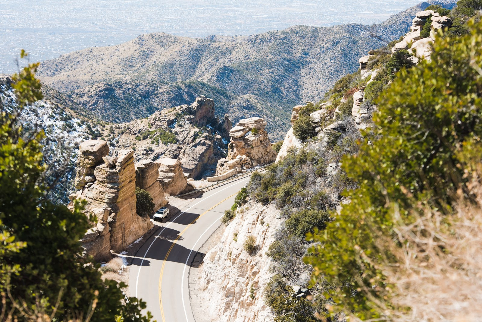 Hoodoo formations on the road while cycling Mt. Lemmon