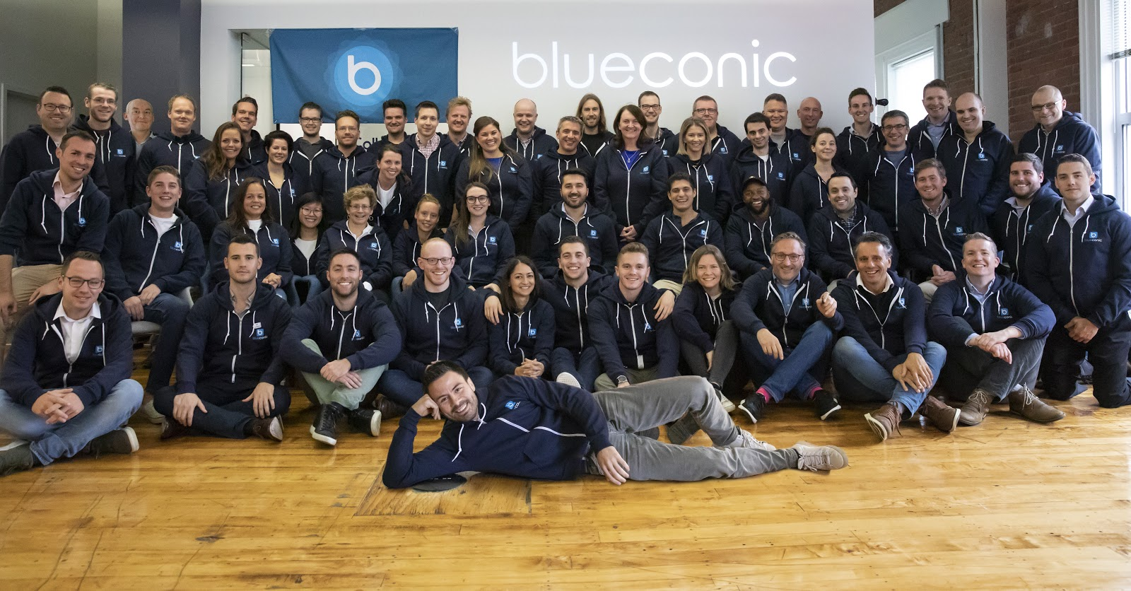 BlueConic's team gathers for a group photo at the office.