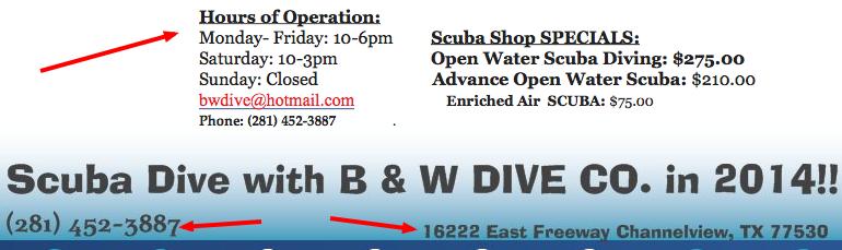 b&w dive co. location indicators