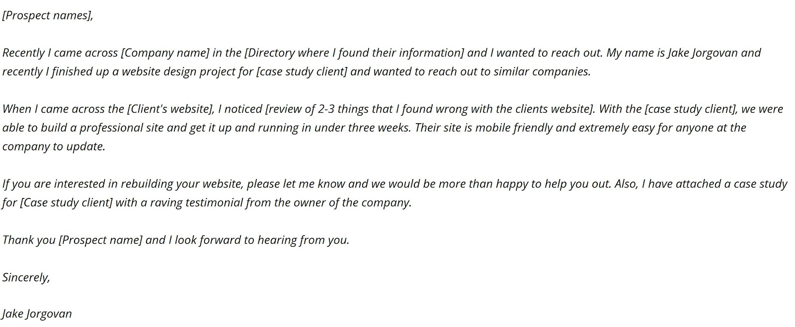 a sales email example that landed a big-time client
