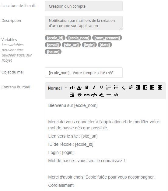 Gestion du contenu des notifications par mail