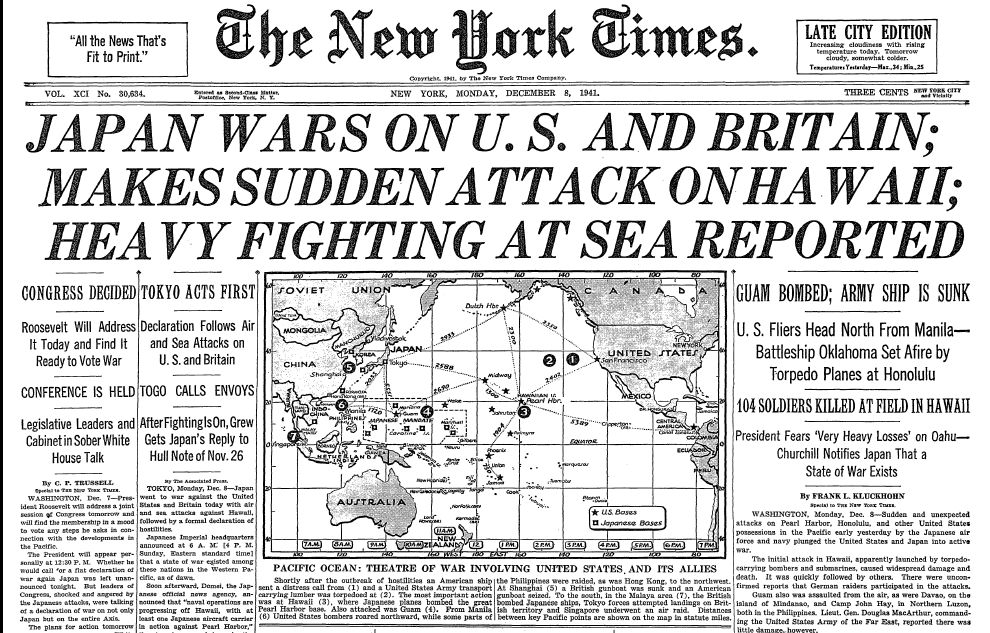 On The Front Page A Look Back At Pearl Harbor The New York Public Library