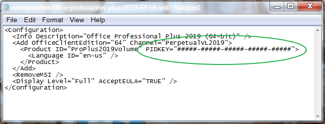 """Look for the following string of text in the configuration file: PIDKEY=""""#####-#####-#####-#####-#####"""""""