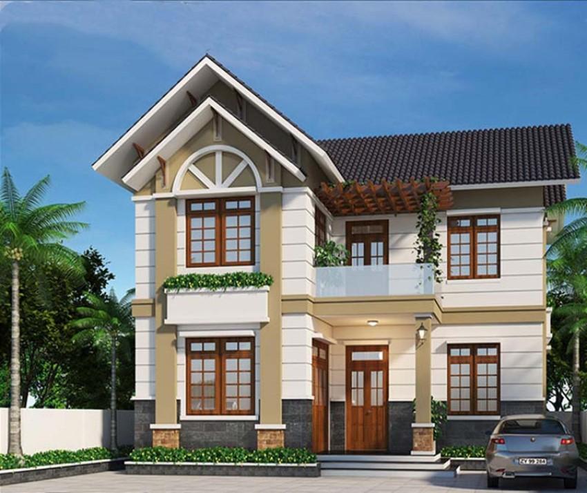 Thiết kế nhà 2 tầng hình chữ L giúp tiết kiệm diện tích xây dựng