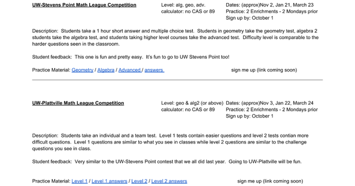 math competitions at a glance - Google Docs