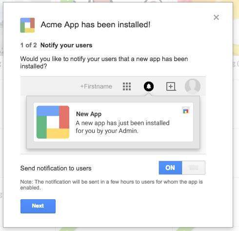 G Suite Updates Blog: Google Apps Marketplace post-install