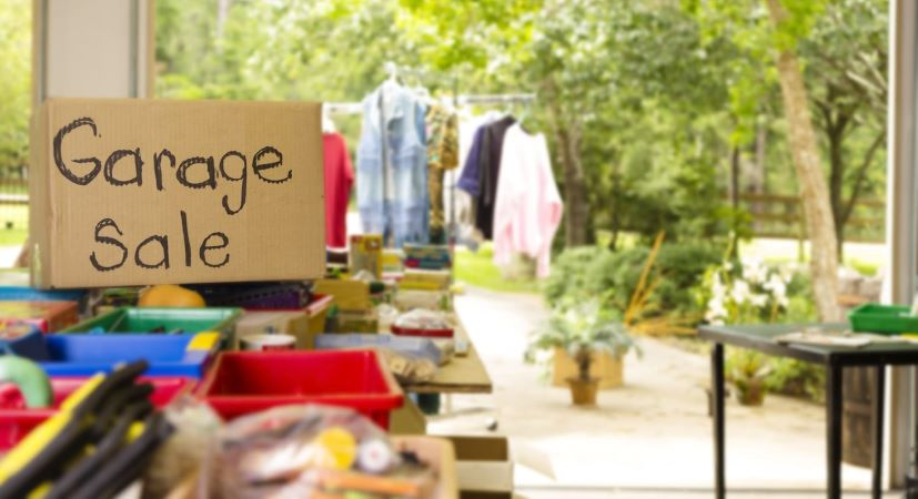 A garage sale for decluttering