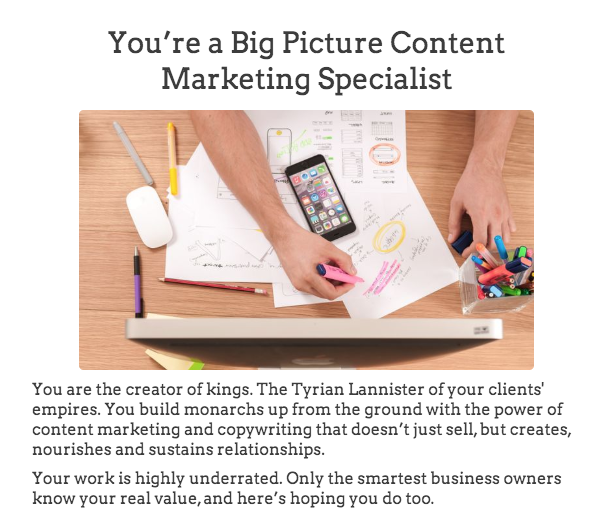 quiz result for big picture content marketing specialist