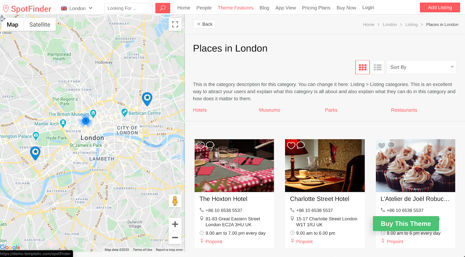 search results and business location split screen overview demo