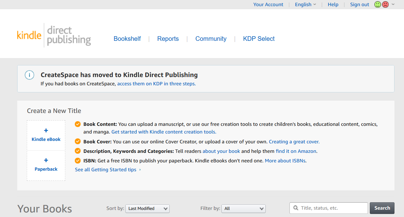 Step 1 for how to publish on Amazon KDP in 2020