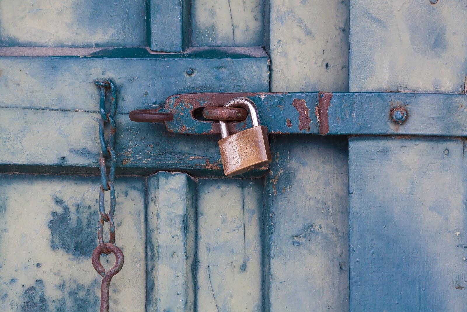 A padlock on a door