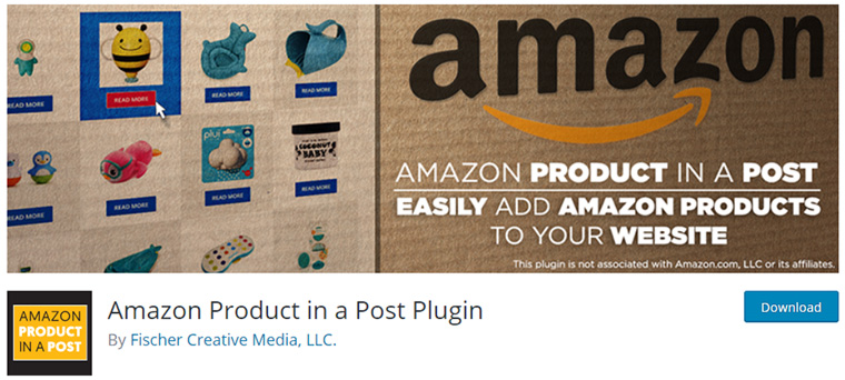 página inicial do plugin amazon product in a post plugin