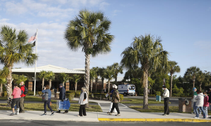People wait in line at the Lakes Regional Library in Fort Myers, Fla., on Dec. 30, 2020. (Octavio Jones/Getty Images)
