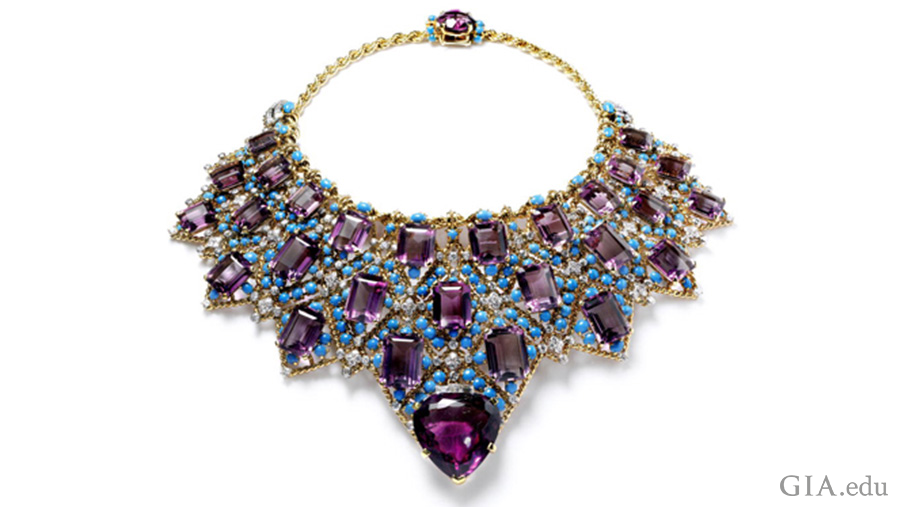 The Duchess of Windsor's amethyst necklace boasts the February birthstone with 28 step-cut amethysts, a large heart-shaped amethyst, turquoise cabochons, and diamonds supported by a gold chain.