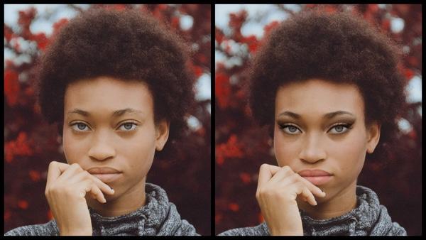 antes e depois da foto de uma mulher negra sendo que em uma foto está com a maquiagem CEO do AirBrush
