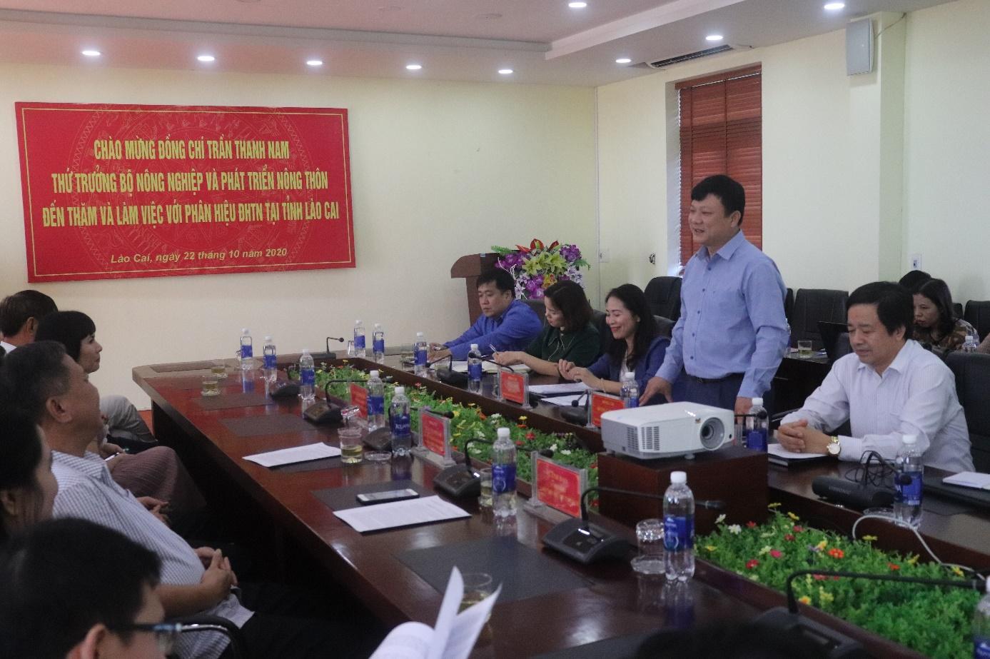 Thứ trưởng Bộ Nông nghiệp và Phát triển nông thôn Trần Thanh Nam đến thăm và làm việc tại Phân hiệu Đại học Thái Nguyên tại tỉnh Lào Cai