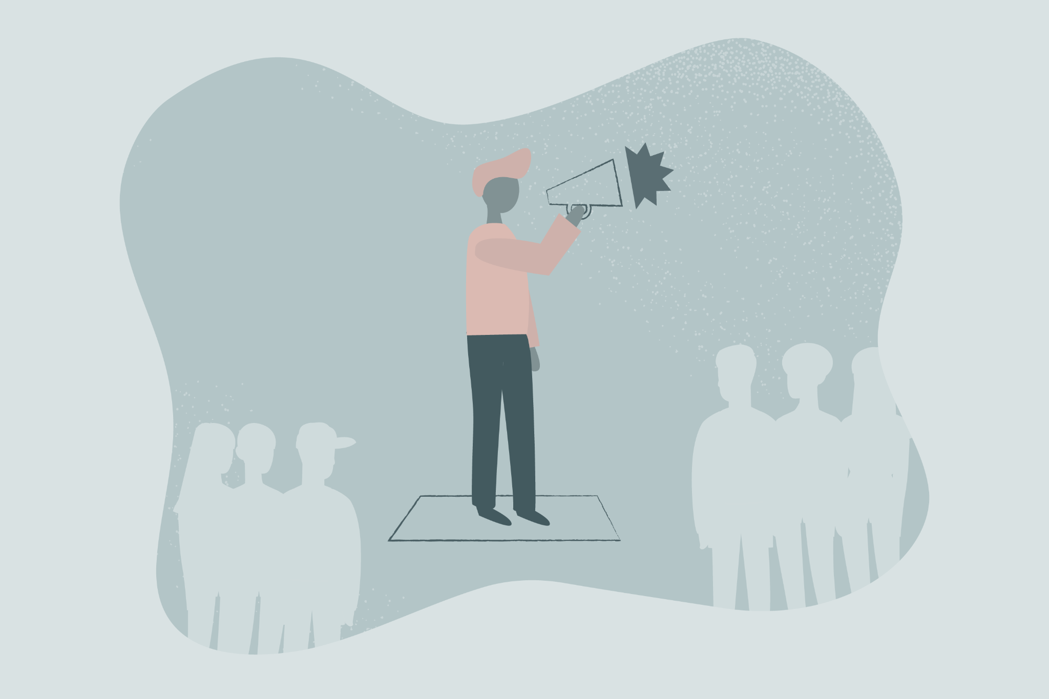 graphic of person talking through megaphone