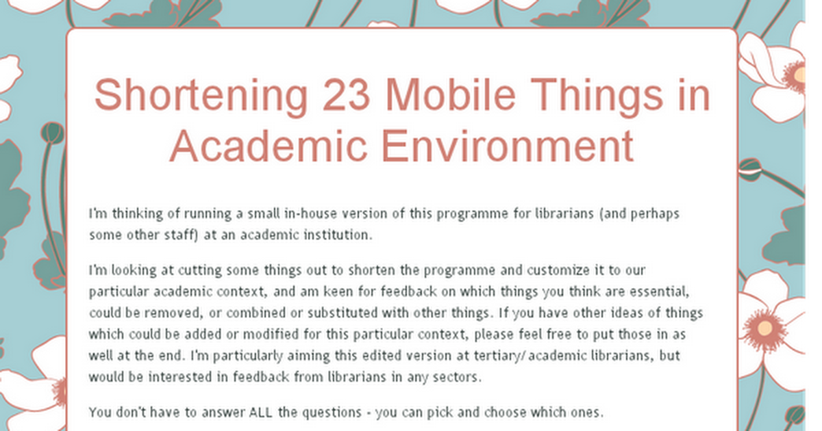 Shortening 23 Mobile Things in Academic Environment