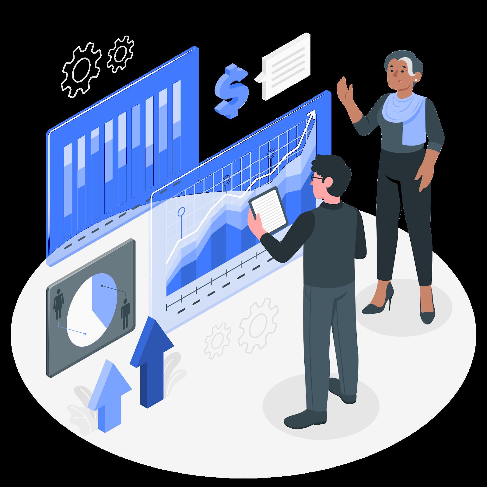 ilustração de um homem e uma mulher gerenciando as finanças de uma empresa, demonstrando controle financeiro
