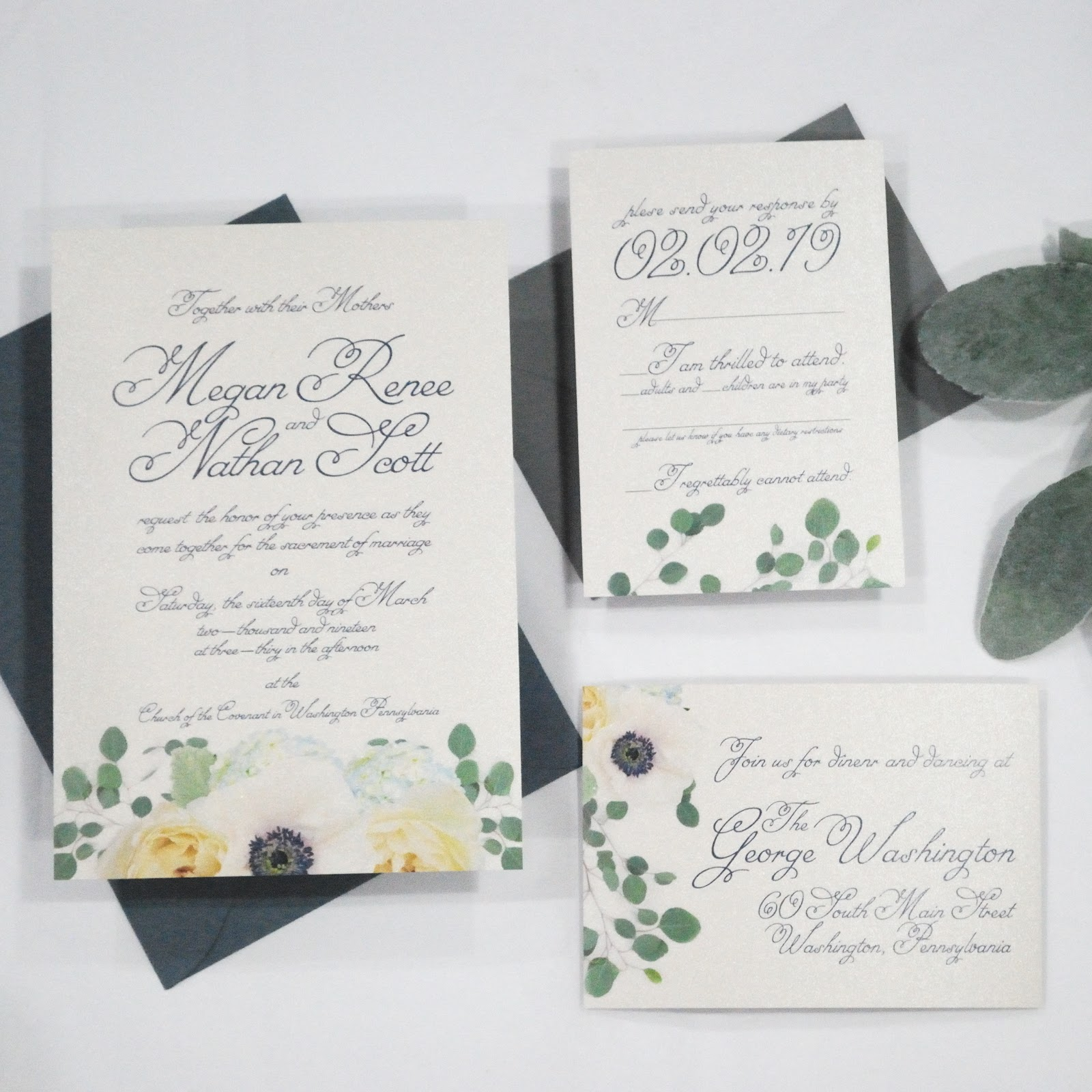 Custom Stationery for a Classy But Casual Wedding -  Beauty Bright Design Washington PA