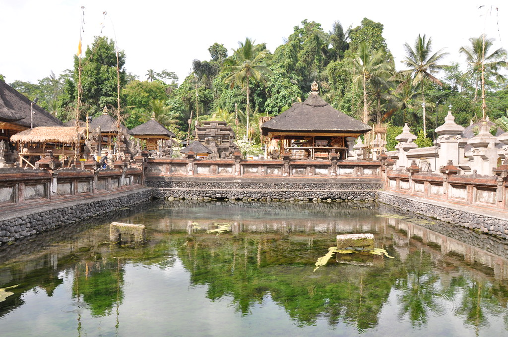 Inaide view of the Pura Trirta Empul. An ancient Hindu temple in Ubud