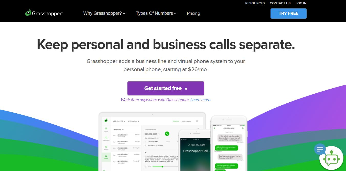 Grasshopper is one of the Small Business Phone Services