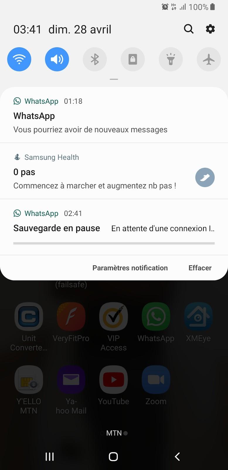Echec de la sauvegarde Whatsapp.