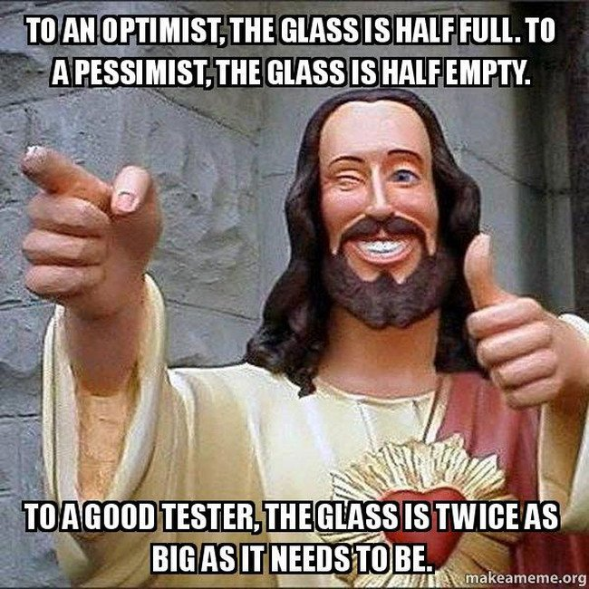 Jesus winking because he figured out what a good tester thinks like.