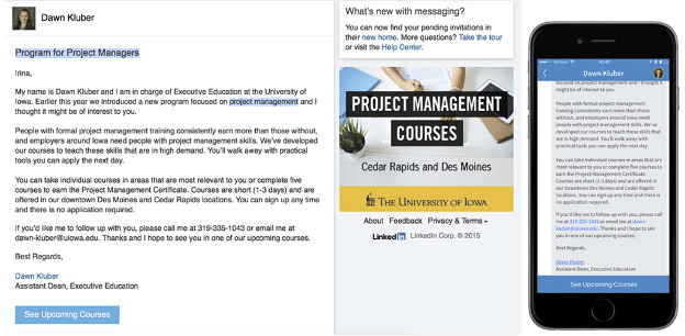 LinkedIn message ad program for project managers