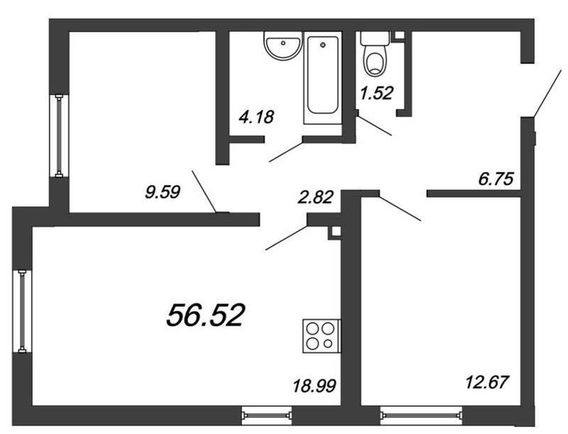Двухкомнатная квартира с кухней-гостиной