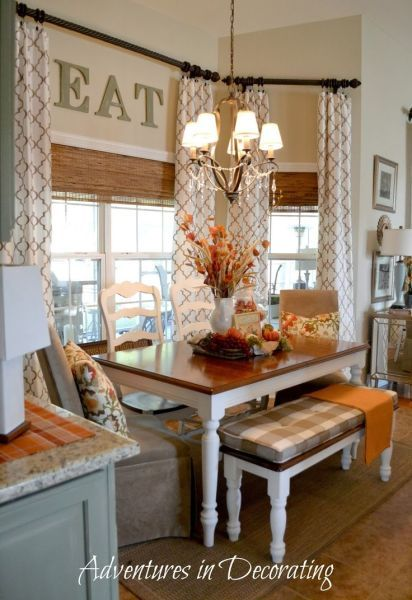 Fall decor in kitchen and table setting.