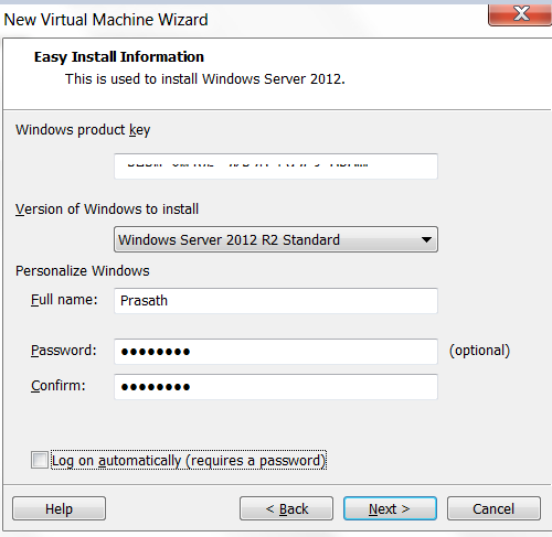 Setup New Virtual Machine