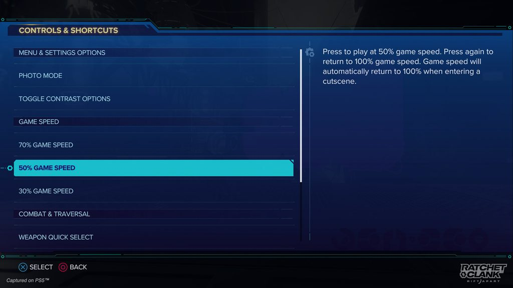 Shortcuts menu showing a variety of options including: Photo Mode; Toggle Contrast Options; Game Speeds of 30%, 50%, 70%; and Weapon Quick Select.