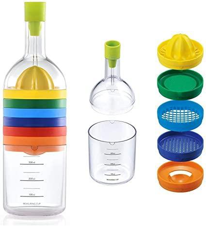 Bouteille multi-accessoires pour cuisine : écumoir, presse-citron, râpe, séparateur d'oeufs, ouvre oîte, verre doseur