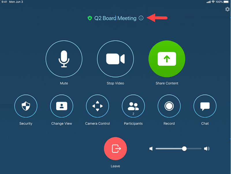The Meeting ID of an active meeting can be found on the Zoom Rooms Touch Control Panel at the very top center; it is above all of the control buttons.